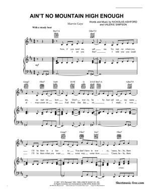 Sheet Music Marvin Gaye - Ain't No Mountain High Enough