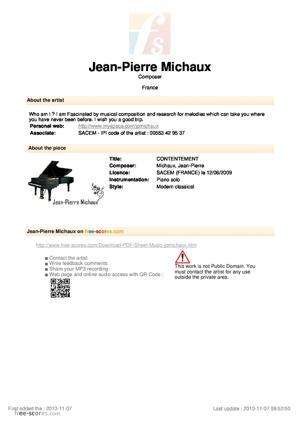 Sheet Music CONTENTEMENT