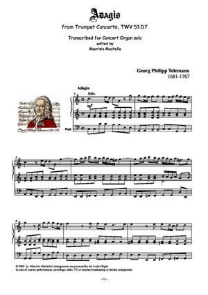 Sheet Music Adagio. Transcribed for Organ solo