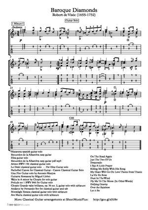 Sheet Music Baroque Diamonds for classical guitar by Robert de Visee (1655 – 1732)