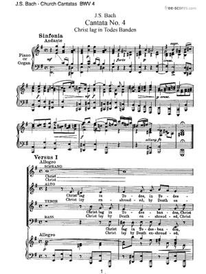 Sheet Music Church Cantatas - BWV 4