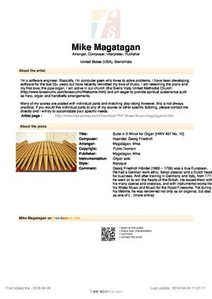 Sheet Music Suite in D Minor for Organ