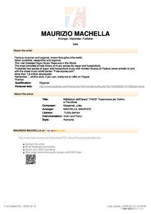 """Sheet Music Méditation dall'Opera"""" THAIS"""" Trascrizione per Violino e Pianoforte"""