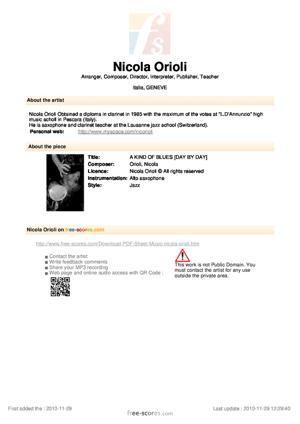 Sheet Music Nicola Orioli - A KIND OF BLUES