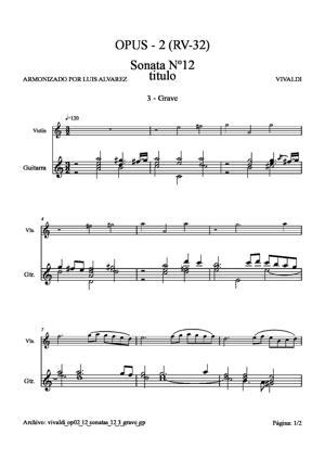 Sheet Music vivaldi op02 12 sonatas 12 3 grave gp