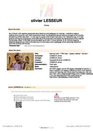 Sheet Music learning violin - FREE test - Lesseur method - volume 1