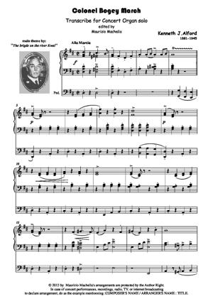 Sheet Music Colonel Bogey March. Transcribed for Concert Organ solo.