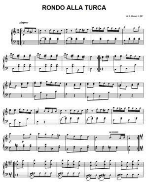 Sheet Music Mozart - Rondo Alla Turca (Turkish March)
