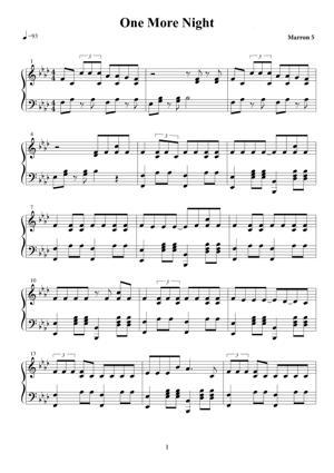 Sheet Music Maroon 5 - One More Night