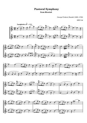 Sheet Music George Frideric Handel (1685–1759) - Pastoral Symphony