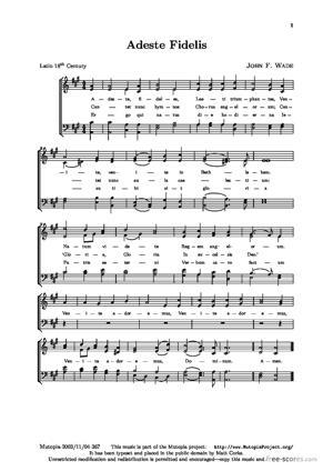 Sheet Music Adeste Fideles
