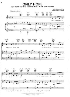 Sheet Music Mandy Moore - Only Hope