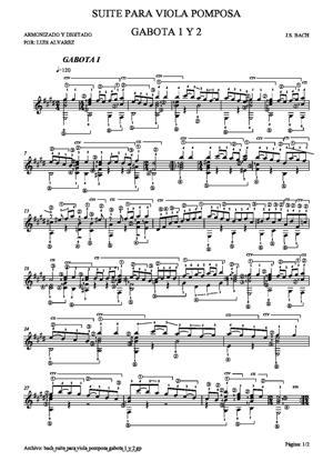 Sheet Music bach bwv1012 suite cello nº6 5 gabota 1 y 2