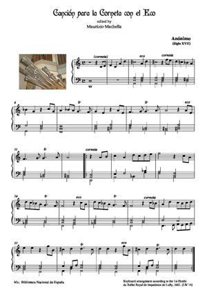 Sheet Music Canción para la Corneta con el Eco. (España Siglo XVII)