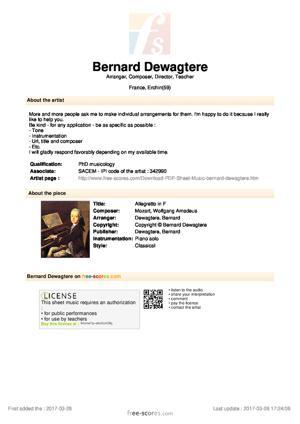 Sheet Music Allegretto in F