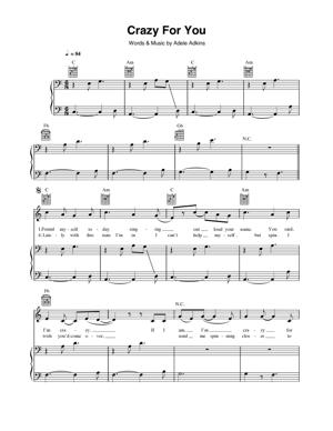 Sheet Music Adele - Crazy For You
