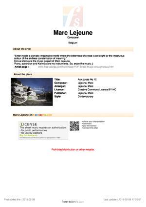 Sheet Music Aux puces No 12