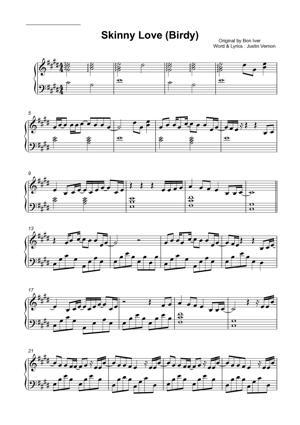 Sheet Music Birdy - Skinny Love