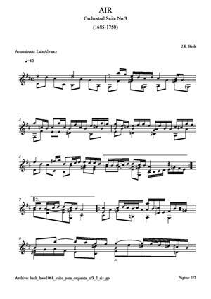 Sheet Music bach bwv1068 suite para orquesta nº3 2 air