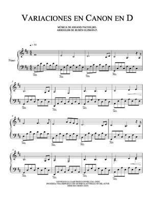 Sheet Music Variaciones de Canon en D