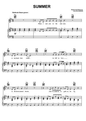 Sheet Music Calvin Harris - Summer