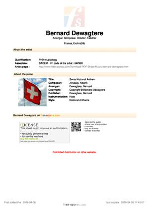 Sheet Music Swiss National Anthem