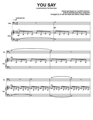 Sheet Music The Piano Guys - You Say (by Lauren Daigle)