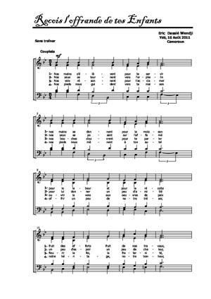 Sheet Music Reçois l'offrande de tes enfants