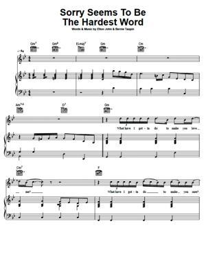 Sheet Music Elton John - Sorry Seems To Be The Hardest Word