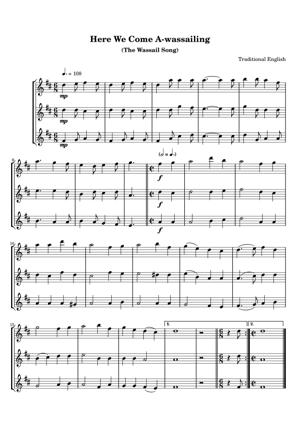 Sheet Music Traditional English - Here We Come A-wassailing