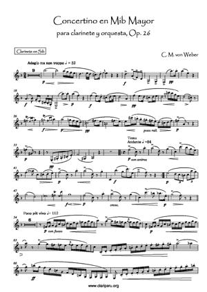 Sheet Music Concertino pour Clarinette et Orchestre (PIANO ici)