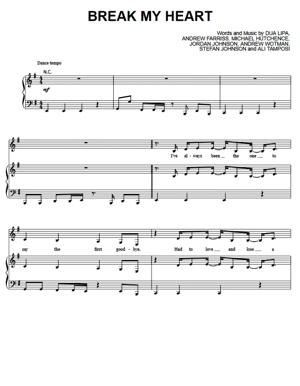 Sheet Music Dua Lipa - Break My Heart