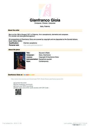 Sheet Music Souvenir d'Italie