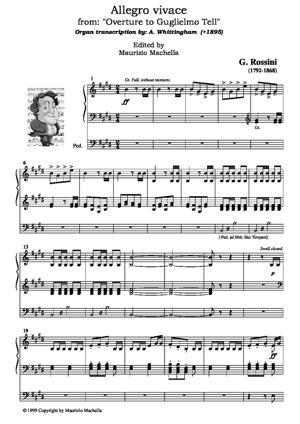 "Sheet Music ""Allegro vivace"" from: ""Overture to Guglielmo Tell"". - Organ transcription"