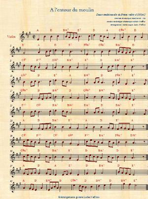 Sheet Music à l'entour du moulin abelle lades neffous arrangements