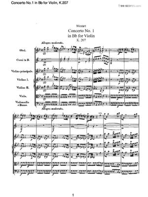 Sheet Music Concerto No.1 in Bb for Violin