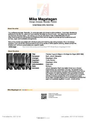 Sheet Music Prelude, Fugue & Allegro in Eb Major for Organ