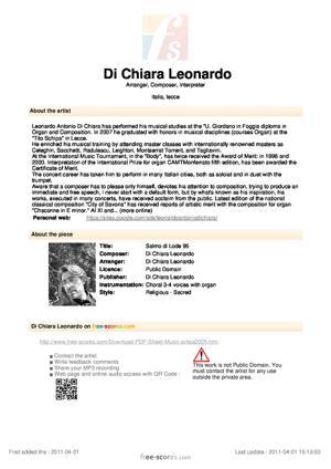 Sheet Music Salmo di Lode 95