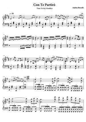 Sheet Music Andrea Bocelli - Con Te Partiro