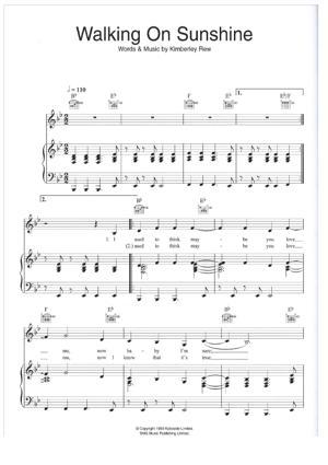 Sheet Music Katrina & The Waves - Walking on sunshine