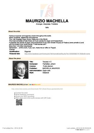 Sheet Music Toccata in C