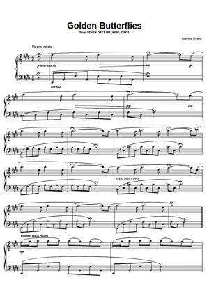 Sheet Music Ludovico Einaudi - Golden Butterflies (From Seven Days Walking Day 1)