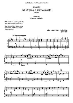 "Sheet Music ""Sonata pel Organo o Clavicembalo"""
