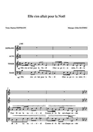 Sheet Music Elle s'en allait pour la Noël