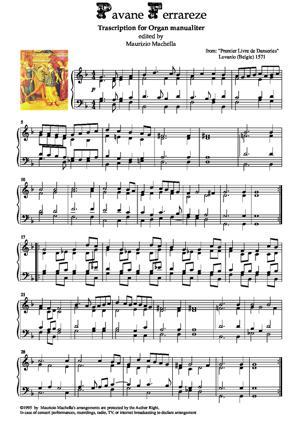 "Sheet Music ""Pavane Ferrareze"" Organ manualiter transcription"