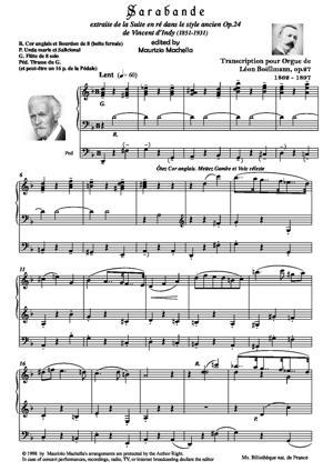 Sheet Music Sarabande (from Suite Op.24) - Organ transcription by Léon Boëllmann Op.27 - Source: Ms. Bibl. Nat. de France)