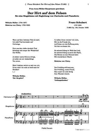 Sheet Music Der Hirt auf dem Felsen