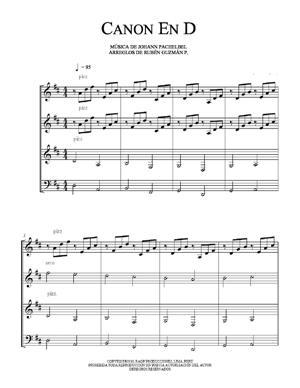 Sheet Music Canon in D