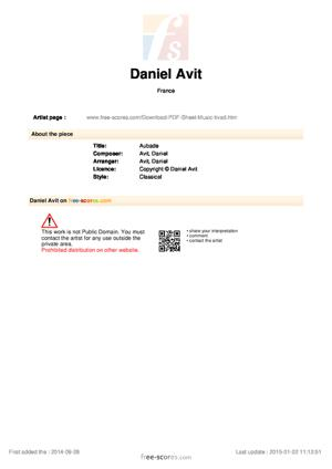 Sheet Music Daniel Avit - Aubade