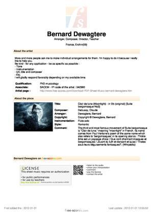 Sheet Music Clair de lune (Moonlight) - in Db (original)